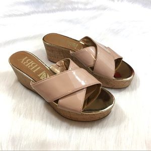 Sam & Libby Nude Open Toe Wedge Sandals Size 8